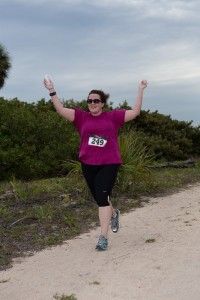 Me -- frankly, I know I'm wearing some winter weight, but this is one of my favorite race pics. :)